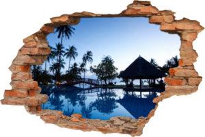 Wand-Aufkleber 3D Wand-Bild Wand-Durchbruch Traum-Hotel Traum-Reise Palmen Wellness