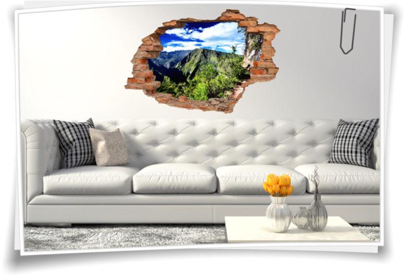 3D Wand-Aufkleber Wand-Bild Wand-Durchbruch Wohnzimmer  Gebirge Hoch-Tour