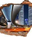3D Wand-Aufkleber Wand-Bild  Wand-Durchbruch Deko Nacht Stadt Licht Beleuchtung Brücke