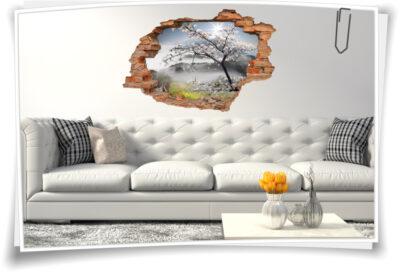 Wand-Tattoo Wand-Sticker Wand-Durchbruch Blüten-Kirsche Frühling Landschaft Deko Raum-Gestaltung