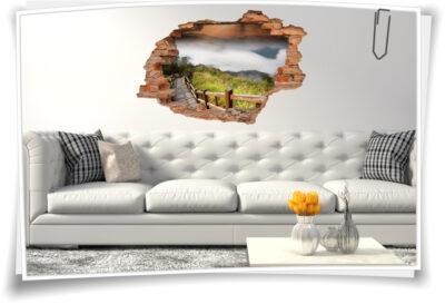 Wand-Tattoo Wand-Sticker Wand-Durchbruch Brücke Steg Holz Landschaft Deko Raum-Gestaltung