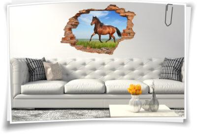 Wand-Tattoo Wand-Sticker Wand-Durchbruch Pferde-Bilder Tiere Raum-Gestaltung