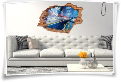 3D Wand-Sticker Wand-Tattoo Wand-Durchbruch Stadt-Zentrum Wolken-Kratzer Brücke Beleuchtung