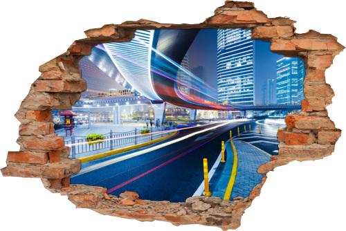 3D Wand-Aufkleber Wand-Bild Wand-Durchbruch Stadt-Zentrum Brücke Beleuchtung