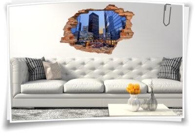 3D Wand-Aufkleber Wand-Bild Wand-Durchbruch Stadt-Zentrum Wolken-Kratzer Metropole City beleuchtet Beleuchtung