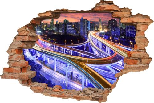 3D Wand-Sticker Wand-Tattoo Wand-Durchbruch Verkehr Auto-Bahn Straße
