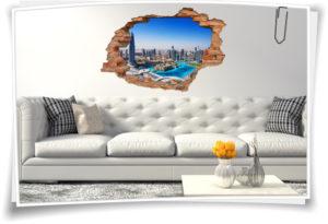 3D-Wand-Bild Dubai Skyline Wand-Tattoo Wolkenkratzer