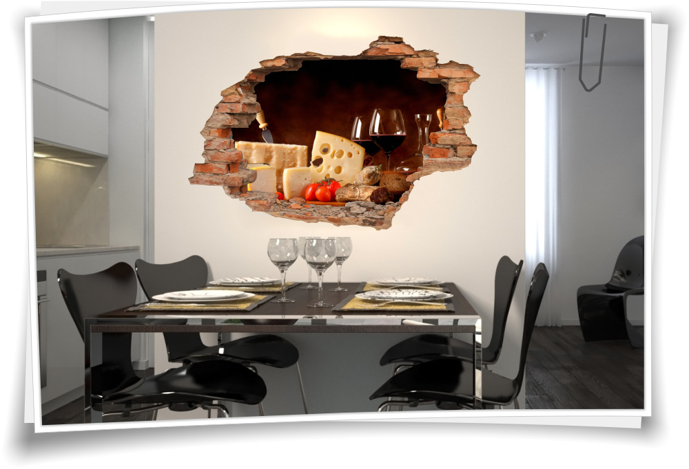 3D Wand-Bild Wand-Tattoo Wand-Aufkleber Rot-Wein-Glas Käse Salami  Delikatesse Küche