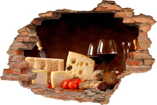 Wand-Bild Wand-Durchbruch-3D Käse Genießen Küche Speisen