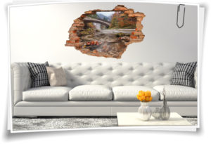 3D-Wand-Bilder Herbst Wand-Tattoo Berg-Landschaft