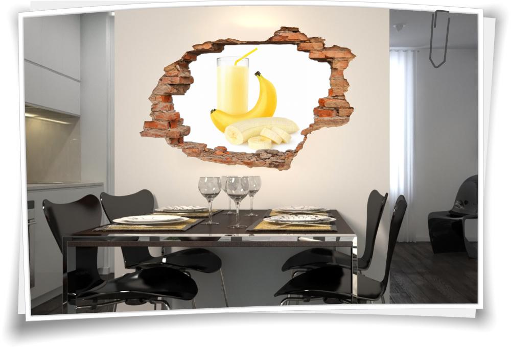 3d Wanddurchbruch Wandbild Aufkleber Cocktail Milchshake Bananen