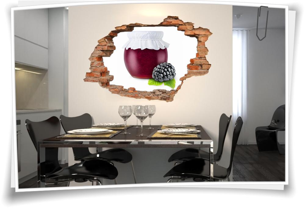3D Wanddurchbruch Wandbild Aufkleber Marmelade Beeren Himbeeren Küche Glas  Deko