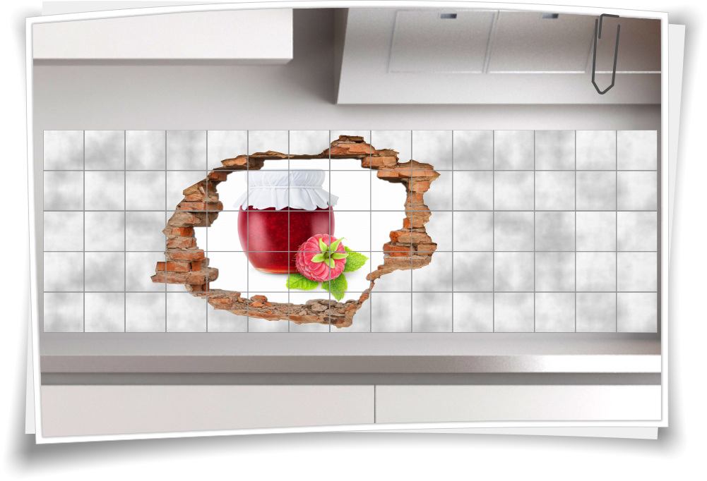Fliesenaufkleber Fliesenbild Aufkleber Wanddurchbruch Marmelade Himbeere  Beeren Glas Küche Fliesen Deko