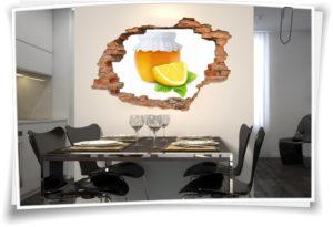3D Wanddurchbruch Wandbild Aufkleber Marmelade Orange Zitrone