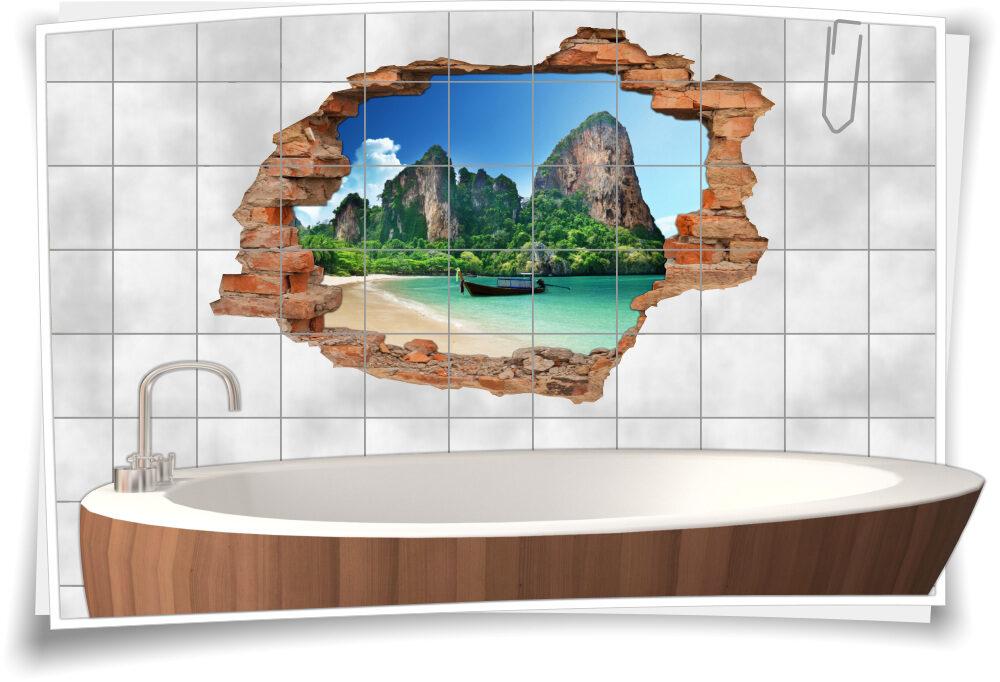 Bad-Fliesen-Aufkleber Meer-Blick 3D-Fliesen-Bilder