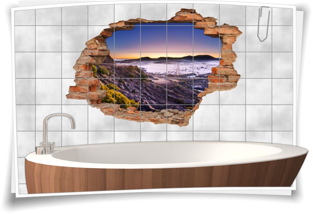 Badezimmer-Deko braun-beige Vulkan-Landschaft Wand-tattoo  Bad-Fliesen-Aufkleber-3D-Fliesen-Bild-er Natur Laki-Krater Reisen