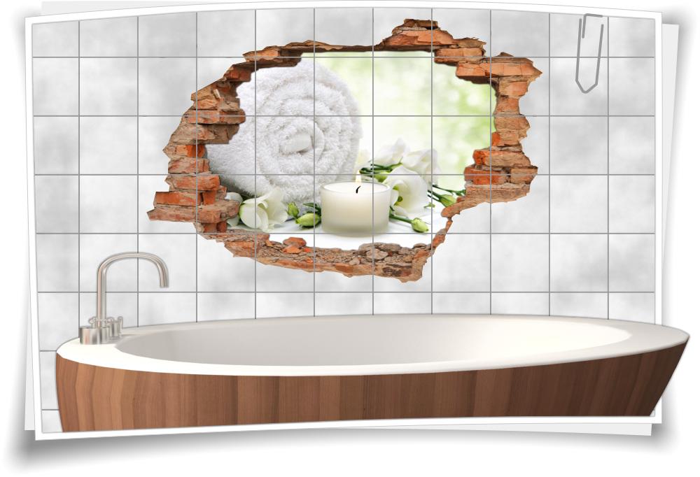 Badezimmer Wellness Fliesen-Bild-er Bad weiß-grün Fliesen-Aufkleber-3D  Fliesen-Tattoo Wand-Durchbruch Balance Meditation Entspannung