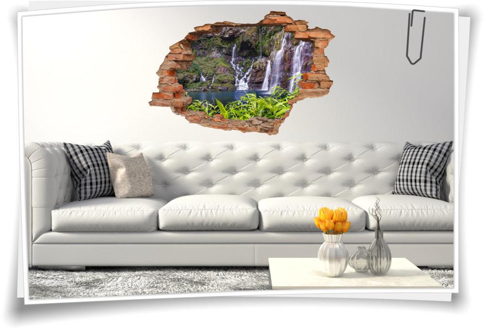 3D-Wand-Bild-er Wasser-fall Deko Wand-Tattoo Schlafzimmer Wand ...