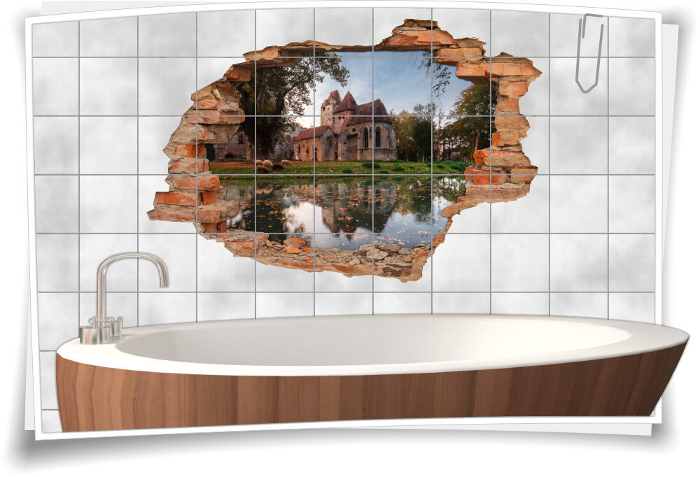 Deko Bad Fliesen-Aufkleber Ruhe 3D-Fliesen-Bilder Herbst