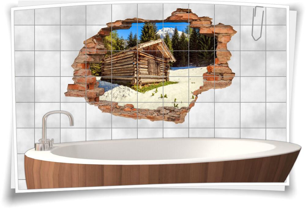 Fliesenbilder Wandgestaltung Alpenlook Gebirge Schweiz Holz-Hüte Berg