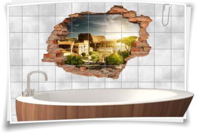 Fliesen-Aufkleber-3D Fliesen-Bild-er Deko Ideen italienischer Abend Amphitheater Italien