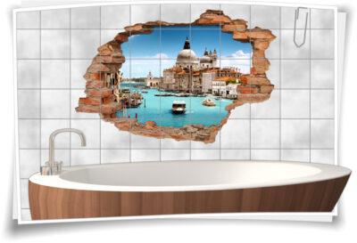 Bad Deko Italien-isch Venedig Fliesen-Aufkleber-3D