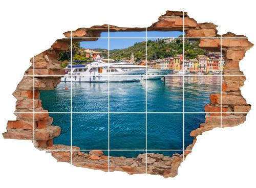 Fliesen-Aufkleber-3D Fliesen-Bild-er Wand-Durchbruch Italien italienische Riviera
