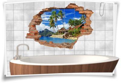 Fliesen-Aufkleber-3D Fliesen-Bild-er Lagune Traum-Urlaub Traum-Reise Hüte
