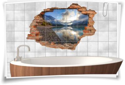 Fliesen-Tattoo Wand-Durchbruch Bad Küche Berg-See