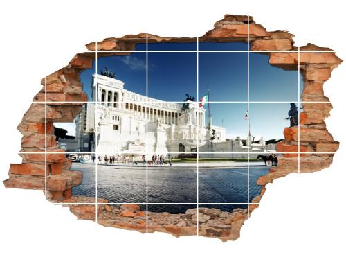 Fliesen-Aufkleber-3D Fliesen-Bild-er Piazza-Venezia Altare-della-Patria Stadt-Tour