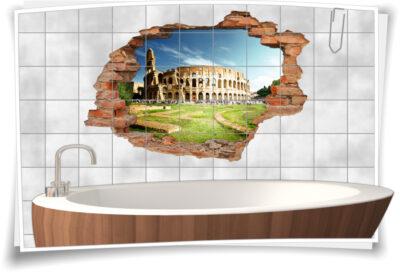 Fliesen-Tattoo Wand-Durchbruch Kolosseum Architektur Antik Denkmal