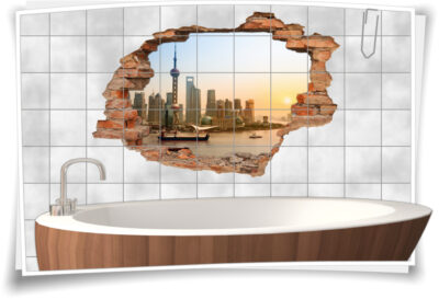 Fliesen-Aufkleber-3D Fliesen-Bild-er Fliesen-Tattoo Wolkenkratzer City Wasser-Kanal