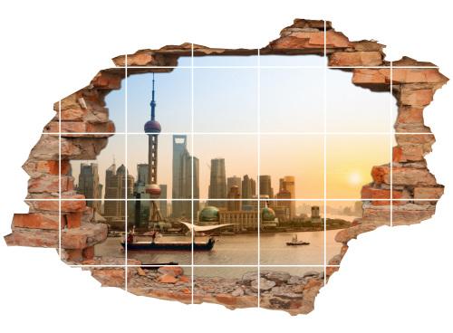 Fliesen-aufkleber Fliesenbilder 3D Wolkenkratzer City Wasser-Kanal