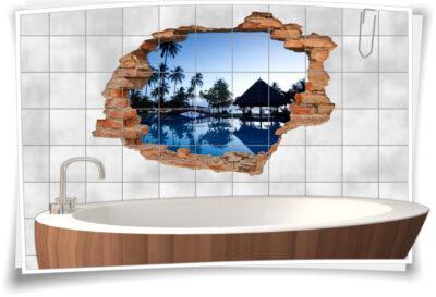 Wand-Durchbruch 3D Bad Fliesen-Tattoo Karibik Traum-Urlaub