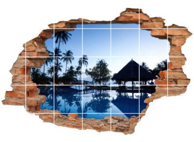 Fliesen-Aufkleber-3D Fliesen-Bild-er Traum-Reise Traum-Hotel Palmen Wellness
