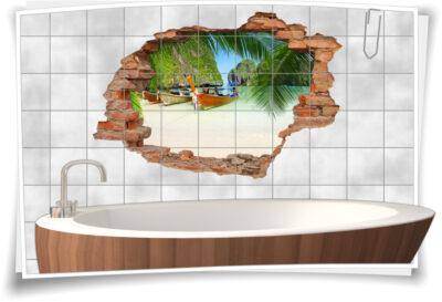 Fliesen-Aufkleber-3D Fliesen-Bild Fliesen-Tattoo Fliesen-Sticker Wand-Durchbruch