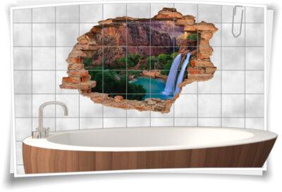 Wasserfall-Bilder Felsen Bucht See Grand-Canyon braun-grün