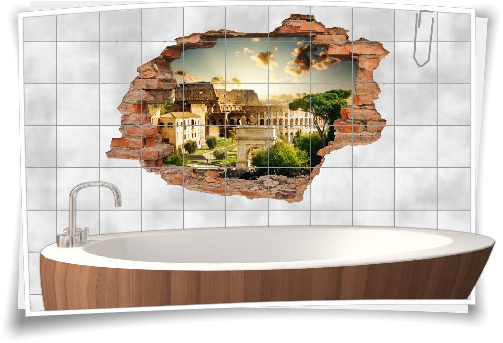 Fliesen-Aufkleber-3D Fliesen-Bild Fliesen-Tattoo Wand-Durchbruch  Badezimmer-Deko italienisch Italien Reise-n Rom Amphitheater