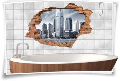Wohnzimmer-Deko Wanddurchbruch schwarz-weiß Wolkenkratzer Business-Center