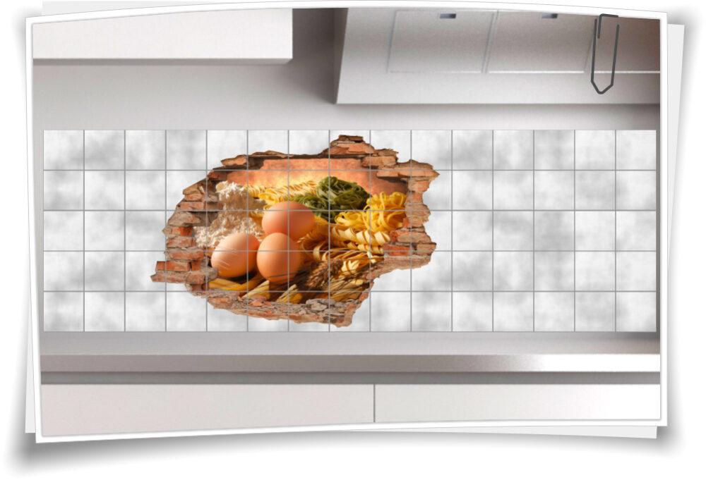 Fliesen-Tattoo Wand-DurchbruchKüche gesund Essen-Kochen