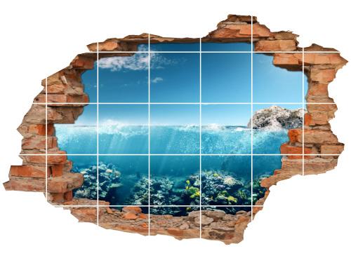 Fliesen-Aufkleber-3D Fliesen-Bild Meer Felsen Tauchen Reisen