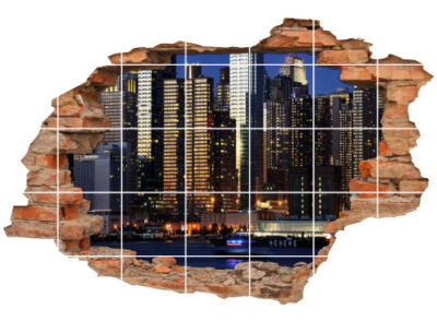Fliesen-Bild Fliesen-Tattoo Wand-Durchbruch Nacht-blau Glas-haus Wolkenkratzer Business-Center City