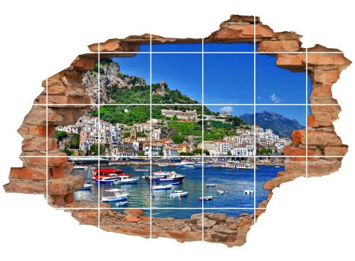 3D-Fliesen-Bild-er Italien-ische Riviera Yacht-Hafen-Residenz