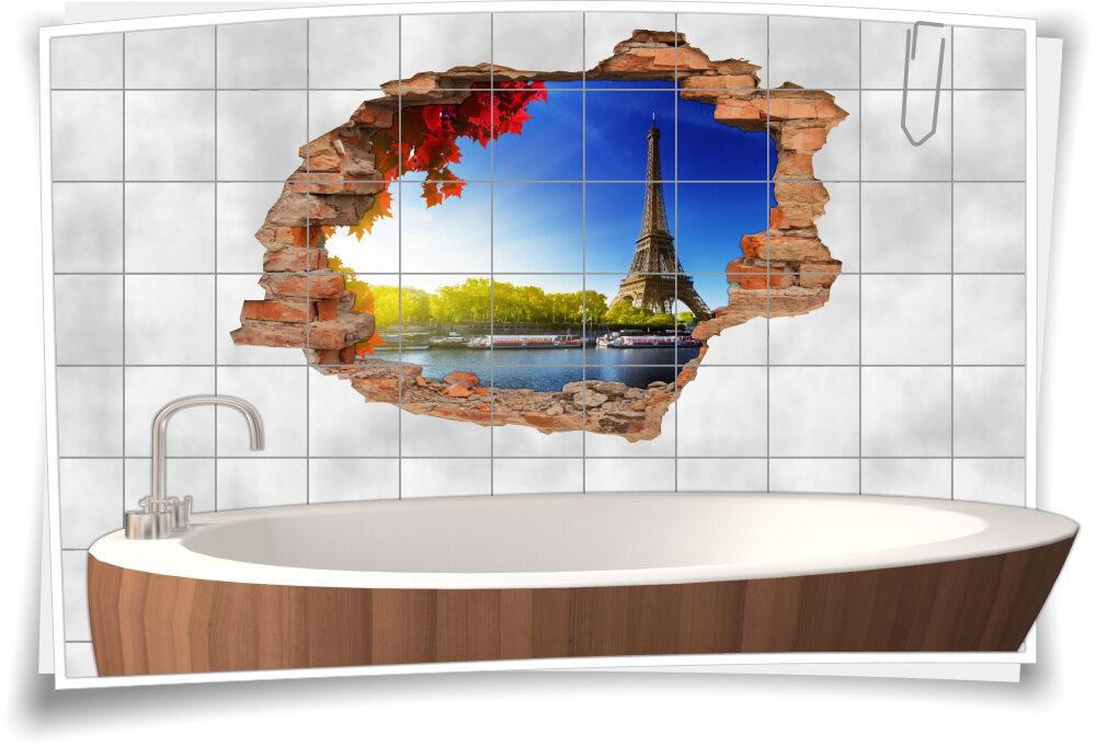 Fliesen-Aufkleber Bad Fliesen-Tattoo-3D-Fliesen-Bild-er Paris