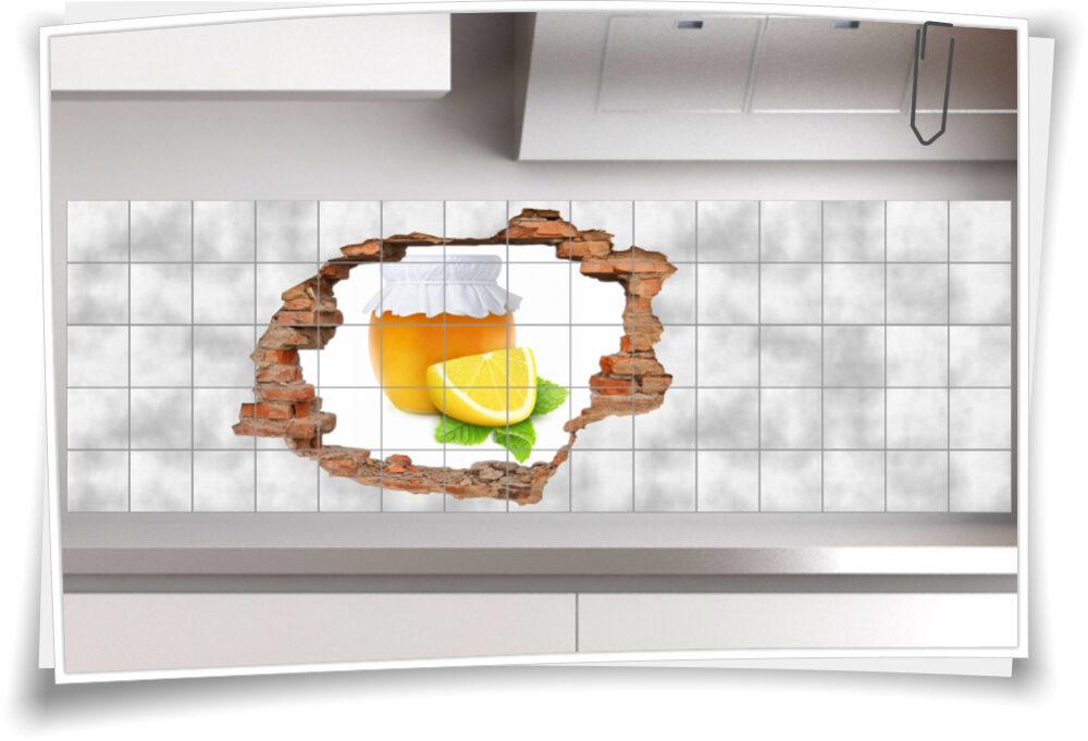 Fliesenaufkleber Fliesenbild Aufkleber Wanddurchbruch Marmelade Orange Zitrone Küche Fliesen
