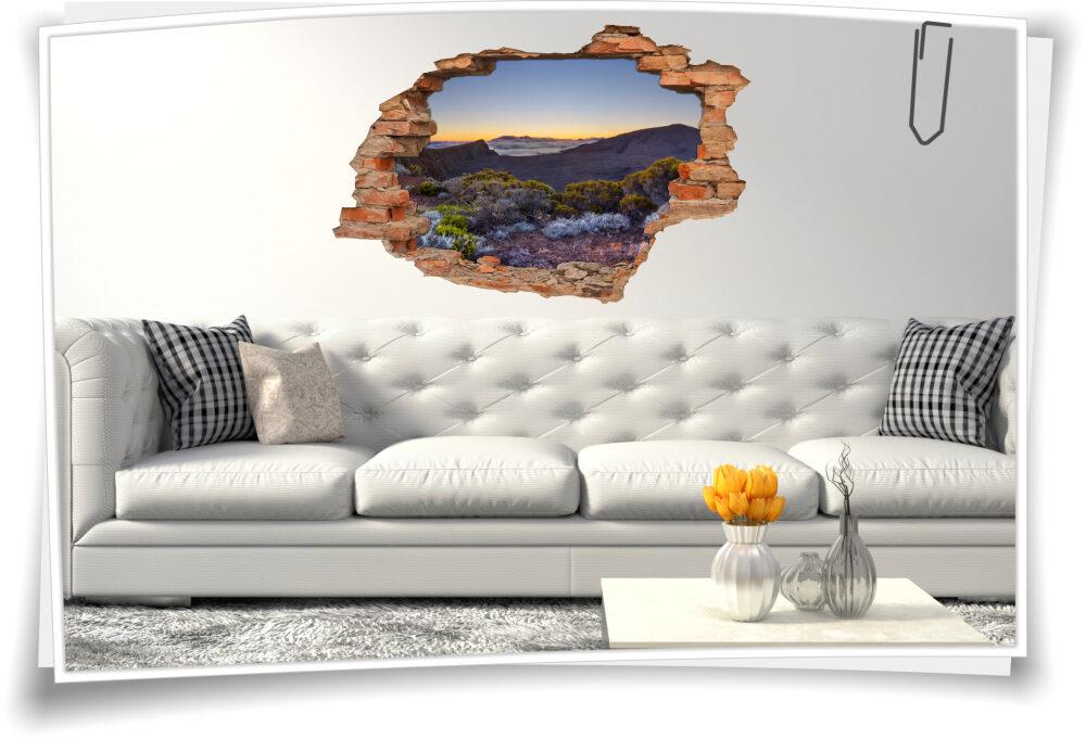 Wand-Bild-er Sonnenuntergang Berg-e-Landschaft Wand-Tattoo 3D