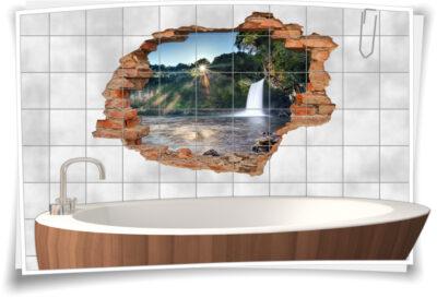 Fliesen-Tattoo Wand-Durchbruch Wasserfall Felsen Wald-See