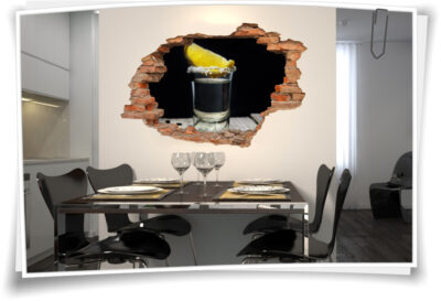 Wand-Bild Wand-Durchbruch Alkohol Tequila Party Deko Idee