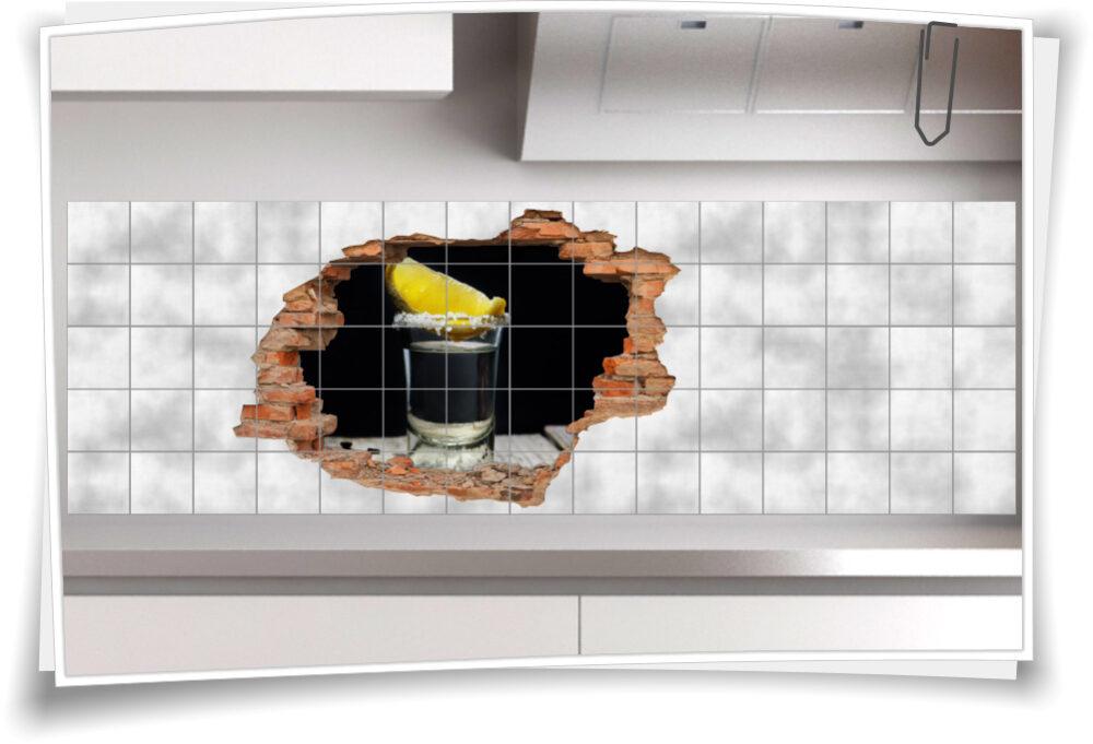 Fliesen-Bild Wand-Durchbruch Alkohol Tequila Party Deko Idee