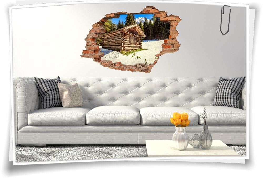 Wand-Tattoo-3D Wand-Durchbruch Alpen-Look Berge